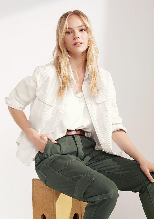 Camisa Mullet Em Sarja - Off White