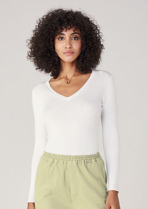 Suéter De Tricô Decote V - Branco