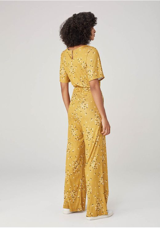 Macacão Em Malha Pantalona - Amarelo