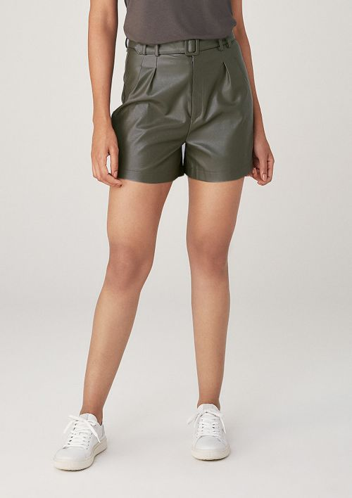 Shorts Em Material Sintético Com Cinto - Verde