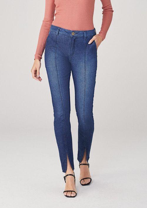 Calça Skinny Em Jeans Cintura Média Premium - Azul
