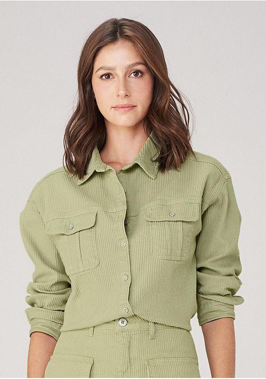 Camisa Mullet Em Sarja - Verde