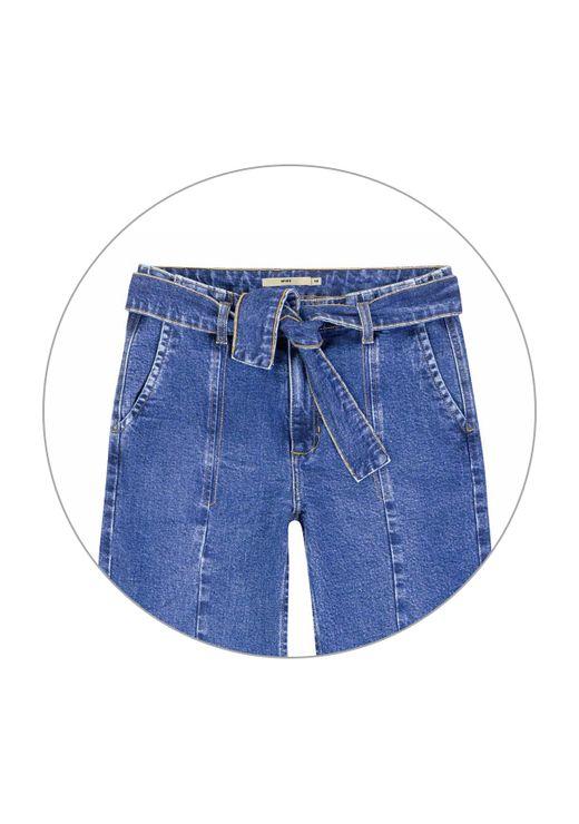 Calça Jeans Wide Leg Com Amarração - Azul