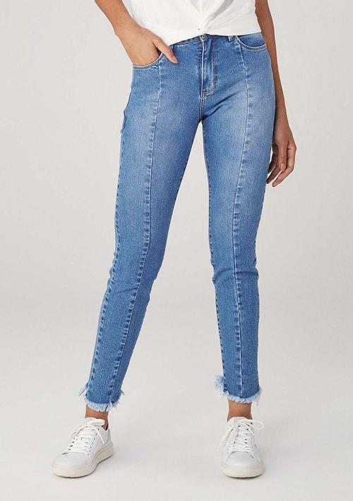 Calça Skinny Em Jeans Cintura Média Eco Denim - Azul