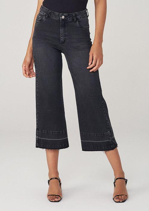 Calça Wide Leg Em Jeans - Preto