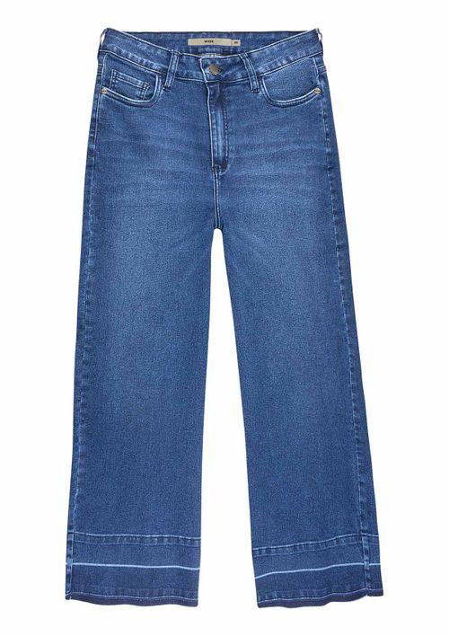 Calça Wide Leg Em Jeans - Azul