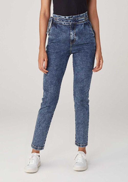 Calça Clochard Em Jeans Com Faixa - Azul