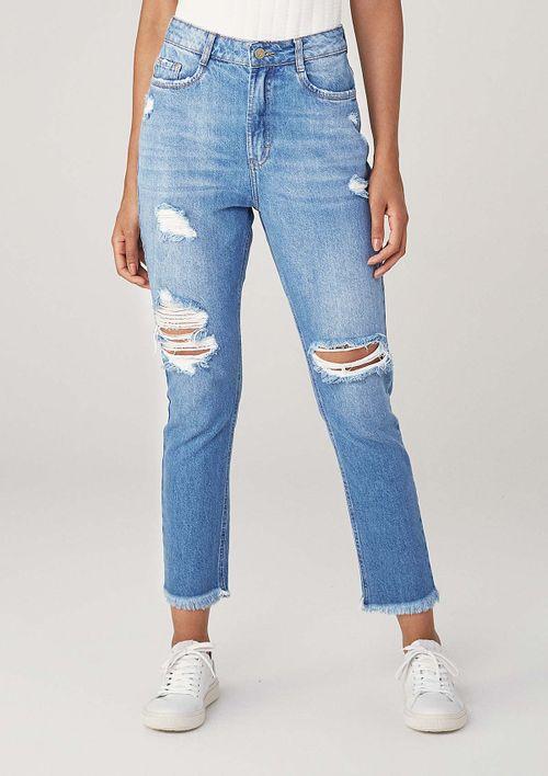 Calça Mom Em Jeans Destroyed - Azul