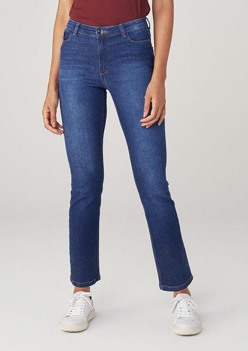 Calça Reta Em Jeans Cintura Média - Azul