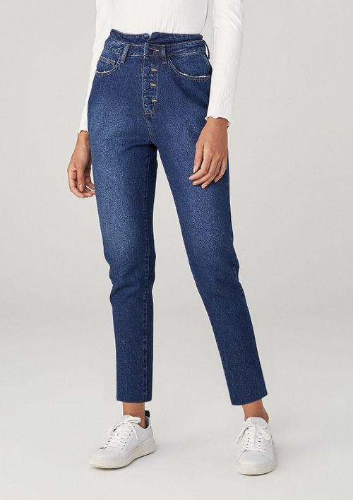 Calça Mom Em Jeans - Azul