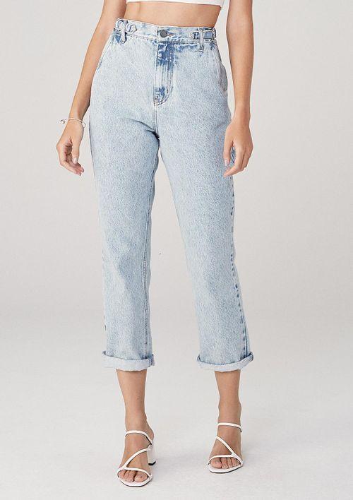 Calça Reta Em Jeans Cintura Alta - Azul