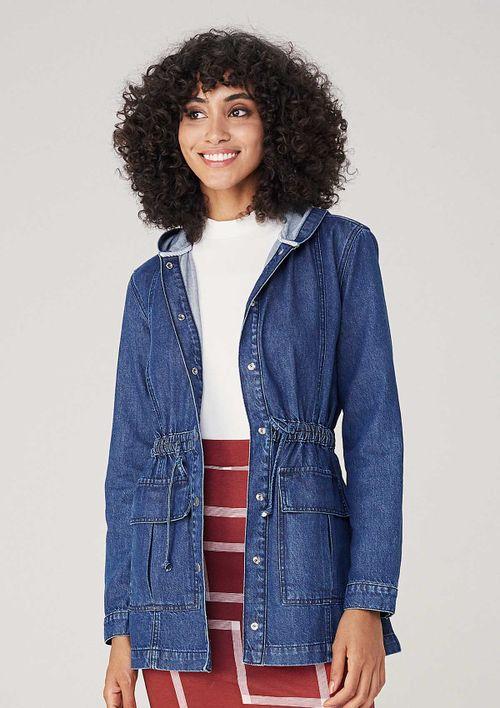 Parka Feminina Em Jeans Com Capuz - Azul