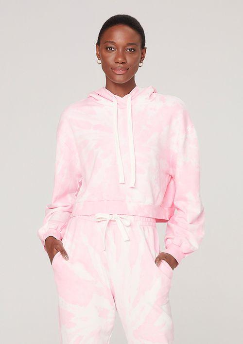 Blusão Moletom Feminino Com Capuz Tie Dye - Rosa