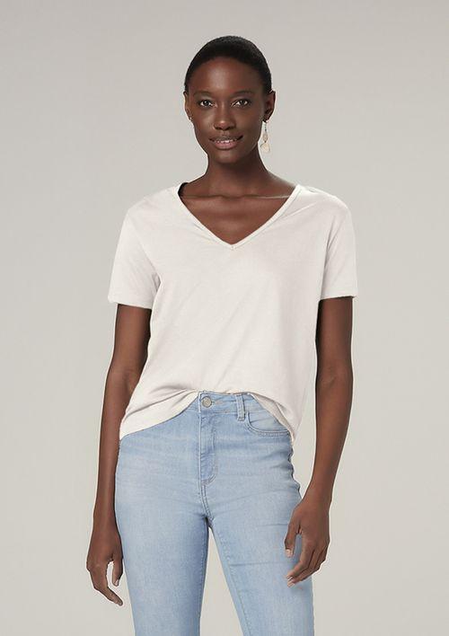 Blusa Básica Com Malha Premium - Off White