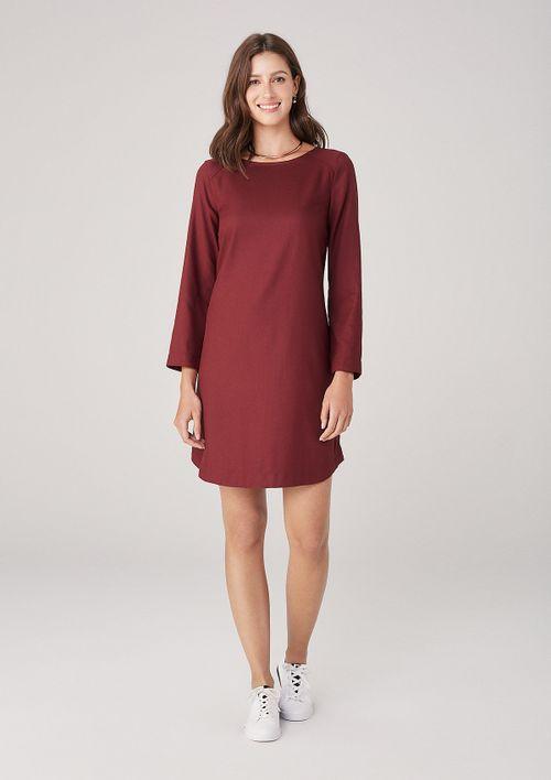 Vestido Curto Evasê Em Tecido Piquet - Vermelho