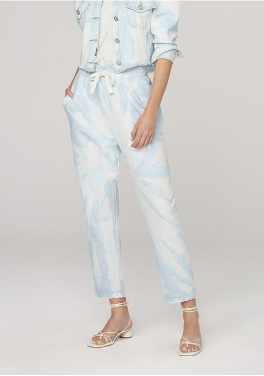 Calça Moletom Feminina Clochard Tie Dye - Azul