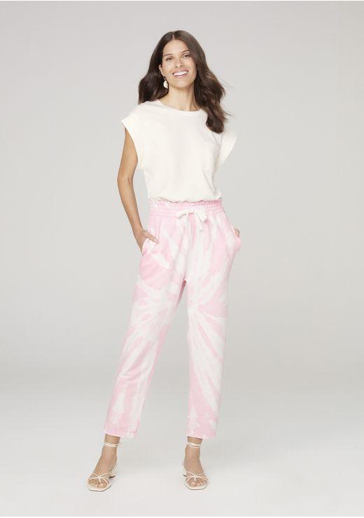 Calça Moletom Feminina Clochard Tie Dye - Rosa