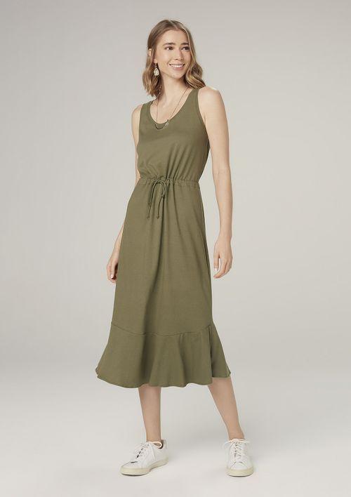 Vestido Midi Evasê Com Amarração - Verde