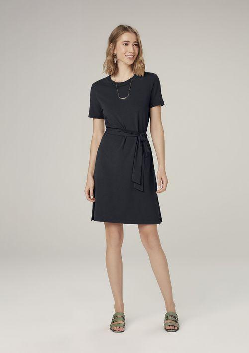 Vestido Curto Evasê Com Amarração - Preto