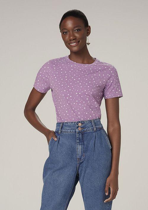 Camiseta Manga Curta Estampada - Roxo