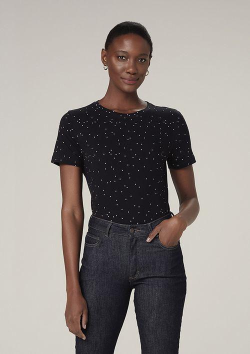 Camiseta Manga Curta Estampada - Preto