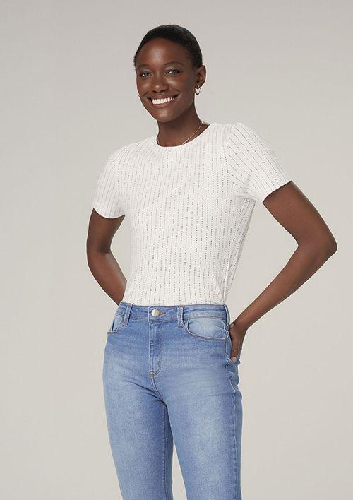 Camiseta Manga Curta Estampada - Off White