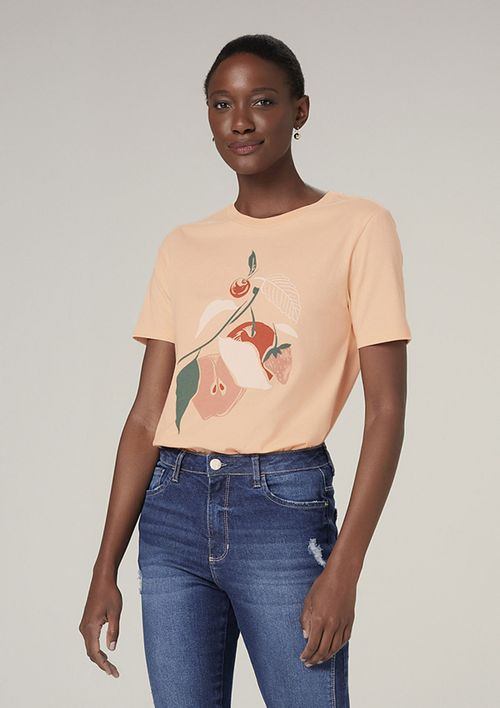 Camiseta Manga Curta Com Estampa - Laranja