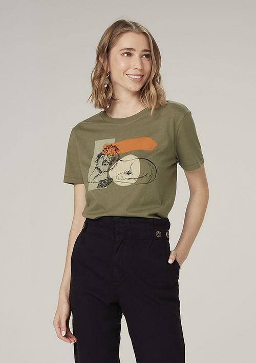 Camiseta Manga Curta Em Malha Com Estampa - Verde