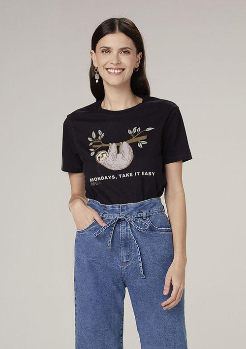 Camiseta Manga Curta Em Malha Com Estampa - Preto