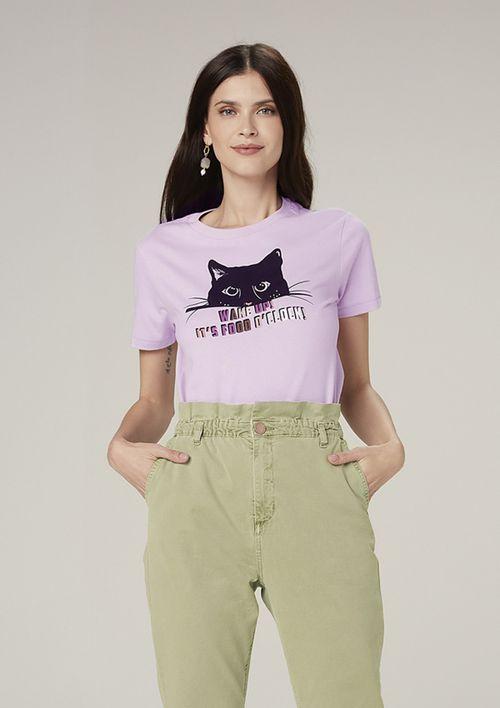 Camiseta Manga Curta Em Malha Com Estampa - Roxo
