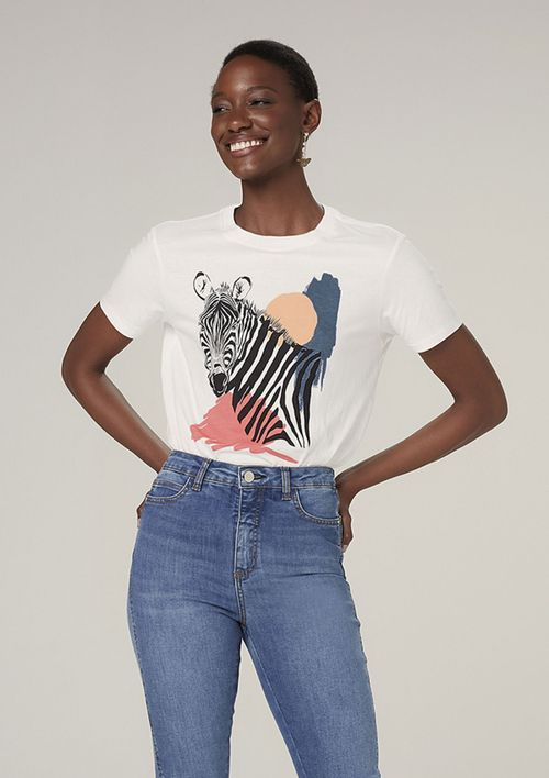 Camiseta Manga Curta Em Malha Com Estampa - Off White