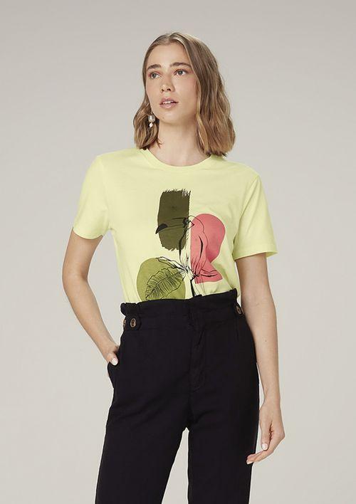 Camiseta Manga Curta Em Malha Com Estampa - Amarelo