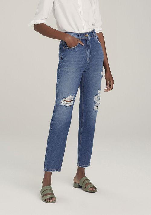 Calça Jeans Mom Destroyed - Azul