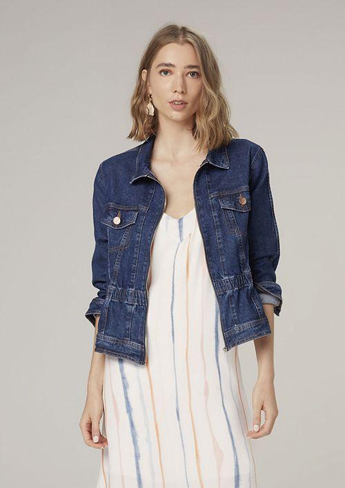 Jaqueta Jeans Com Elástico - Azul