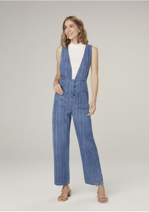 Macacão Jeans Listrado Denim - Azul
