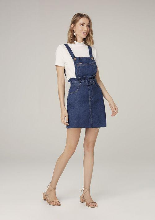 Vestido Jeans Salopete Com Cinto - Azul