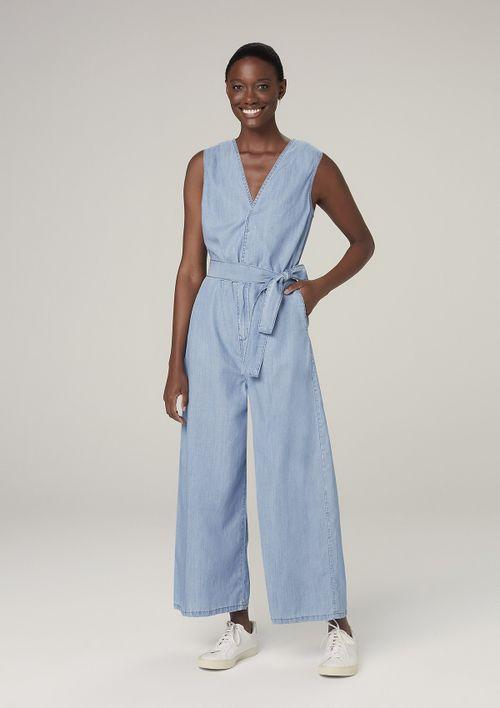 Macacão Jeans Pantalona - Azul