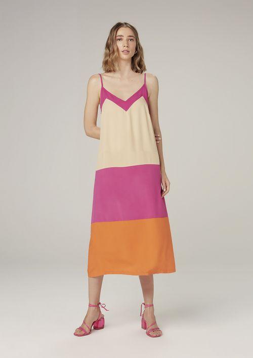 Vestido Midi Com Alças Finas - Rosa