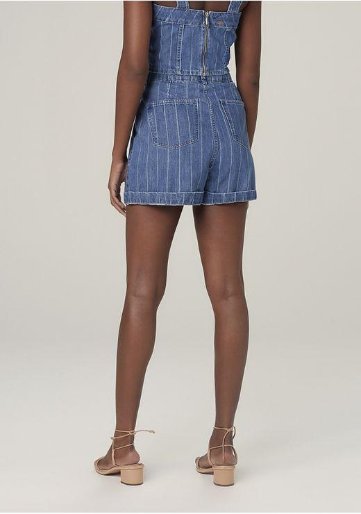 Shorts Jeans Em Algodão Listrado Denim Cintura Alta - Azul