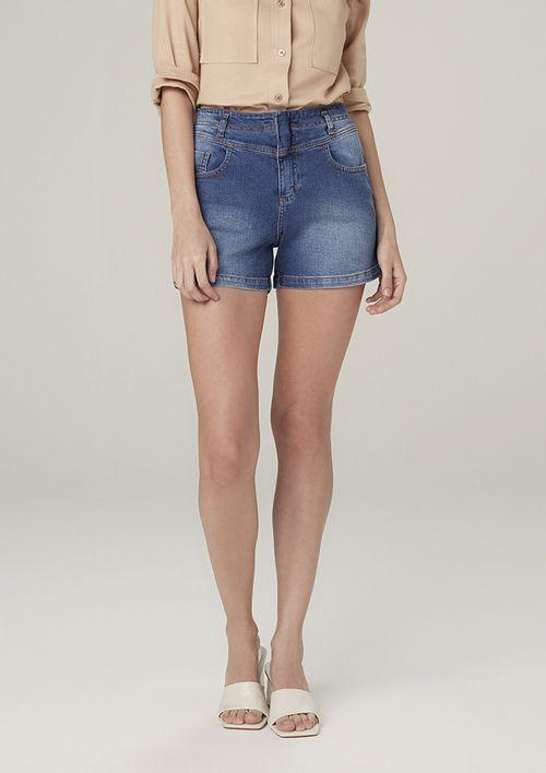 Shorts Jeans Cintura Média Eco Denim - Azul