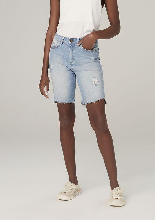 Bermuda Jeans Em Eco Denim Cintura Média - Azul