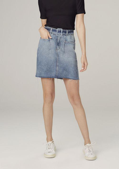 Saia Jeans Curta Com Cinto - Azul