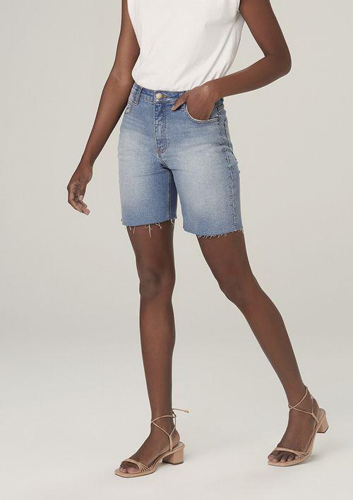 Bermuda Jeans Com Elastano Cintura Média - Azul