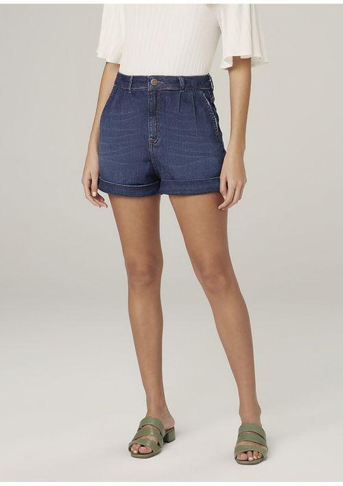 Shorts Jeans Com Elastano Cintura Alta - Azul