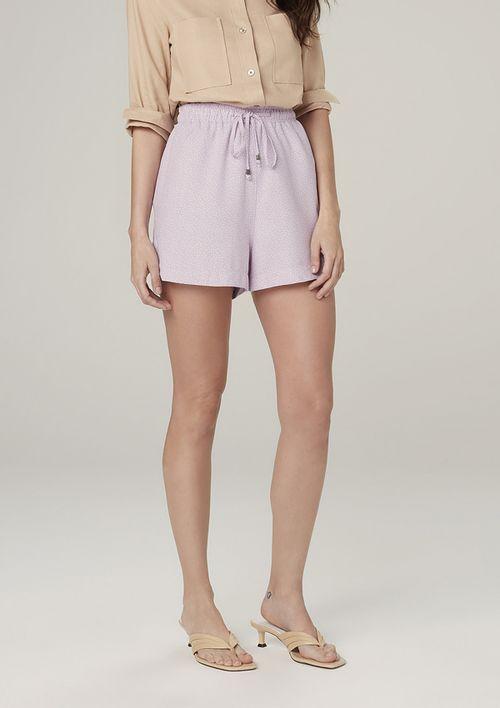 Shorts Estampado Com Elástico No Cós - Roxo