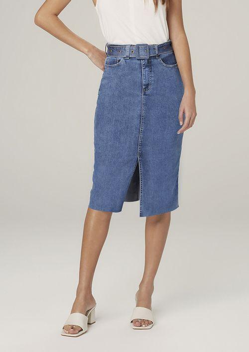 Saia Jeans Midi Com Cinto - Azul