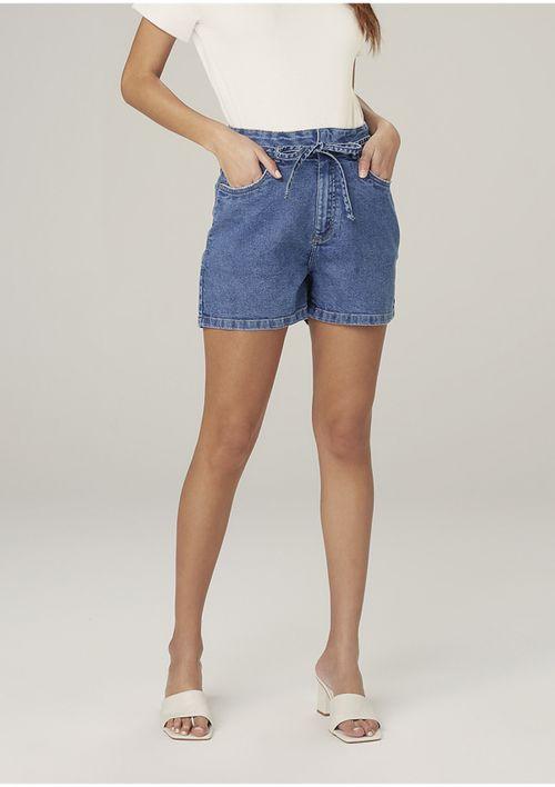 Shorts Jeans Cintura Alta Com Amarração - Azul