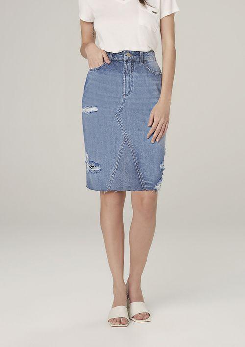 Saia Jeans Midi Destroyed - Azul