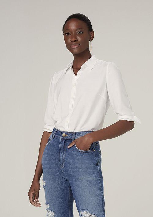 Camisa Manga Longa Reta Mangas Bufantes - Off White