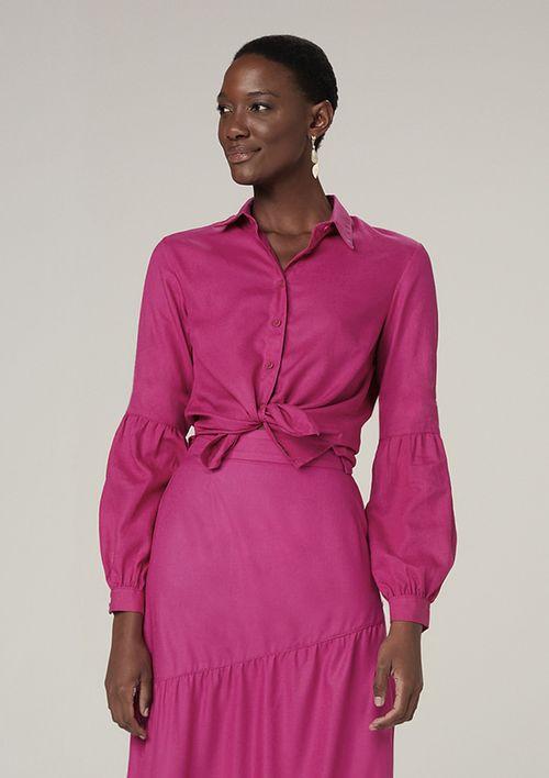 Camisa Manga Longa Bufante - Rosa